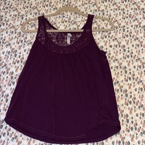 purple tank top with lace around the top